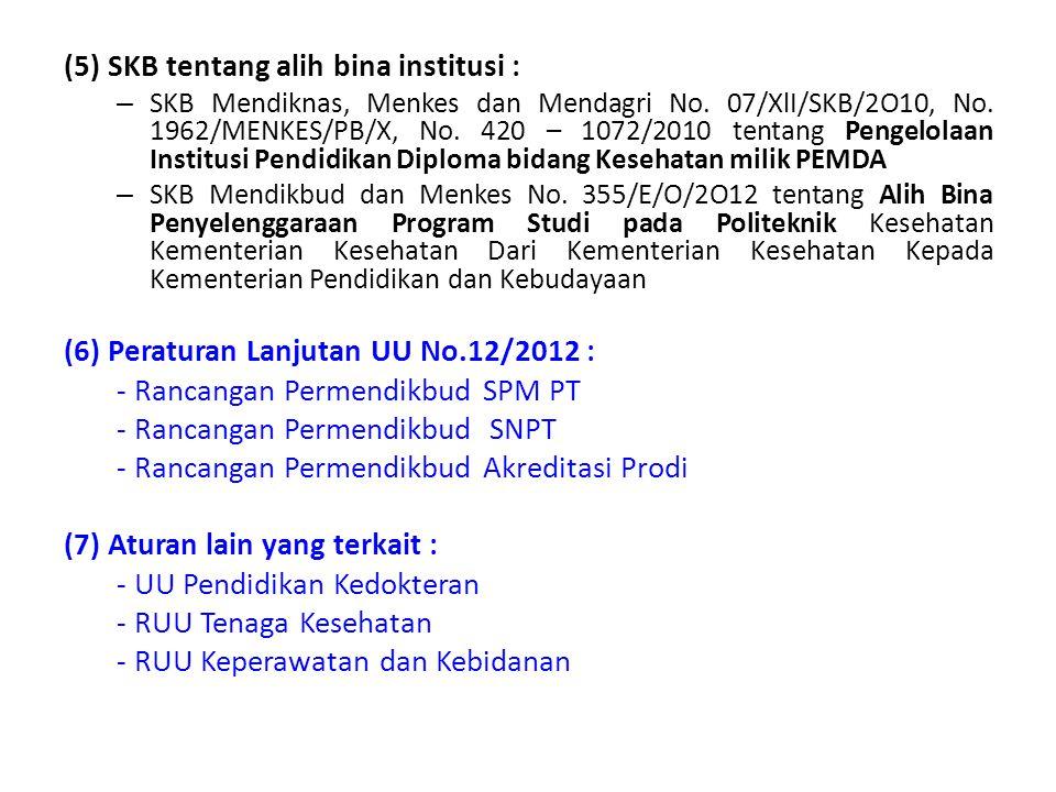 (5) SKB tentang alih bina institusi : – SKB Mendiknas, Menkes dan Mendagri No. 07/XlI/SKB/2O10, No. 1962/MENKES/PB/X, No. 420 – 1072/2010 tentang Peng