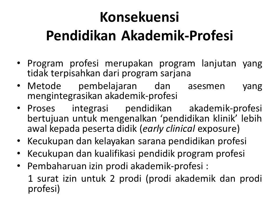 Konsekuensi Pendidikan Akademik-Profesi • Program profesi merupakan program lanjutan yang tidak terpisahkan dari program sarjana • Metode pembelajaran