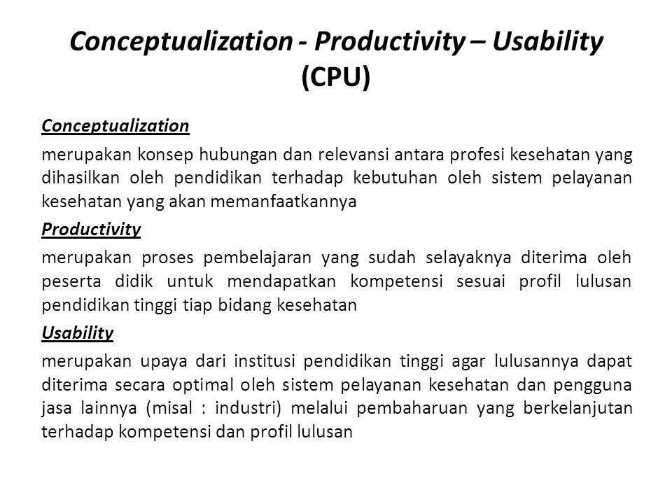 Conceptualization - Productivity – Usability (CPU) Conceptualization merupakan konsep hubungan dan relevansi antara profesi kesehatan yang dihasilkan