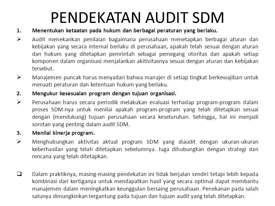 PENDEKATAN AUDIT SDM 1.Menentukan ketaatan pada hukum dan berbagai peraturan yang berlaku.