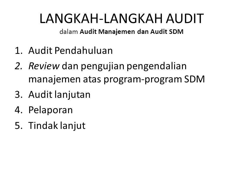 LANGKAH-LANGKAH AUDIT dalam Audit Manajemen dan Audit SDM 1.Audit Pendahuluan 2.Review dan pengujian pengendalian manajemen atas program-program SDM 3.Audit lanjutan 4.Pelaporan 5.Tindak lanjut