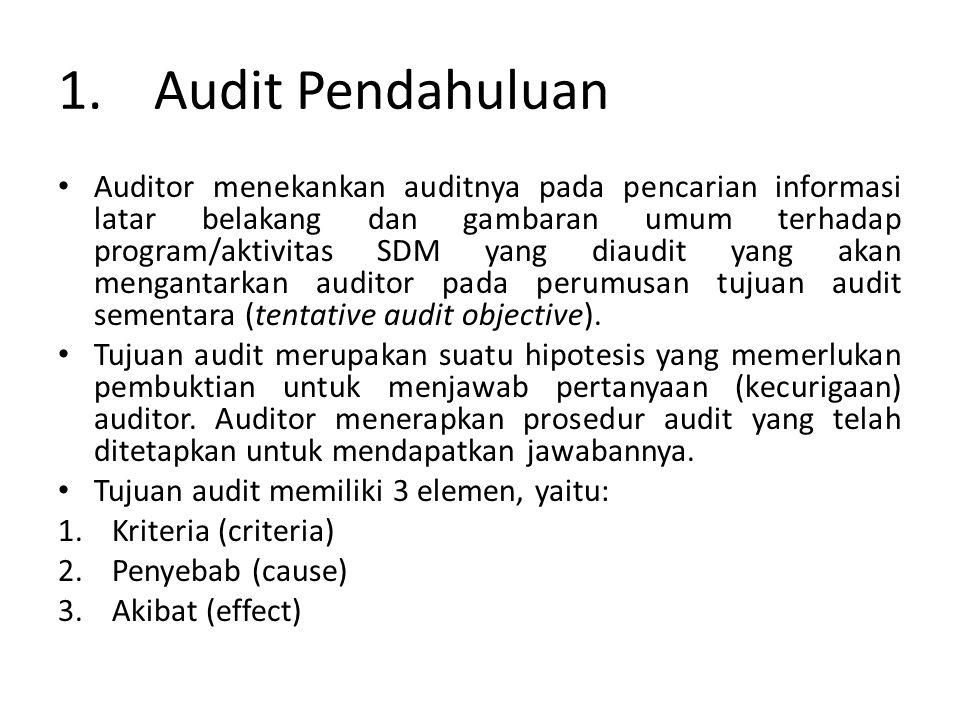 1.Audit Pendahuluan • Auditor menekankan auditnya pada pencarian informasi latar belakang dan gambaran umum terhadap program/aktivitas SDM yang diaudit yang akan mengantarkan auditor pada perumusan tujuan audit sementara (tentative audit objective).