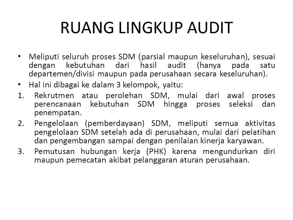 RUANG LINGKUP AUDIT • Meliputi seluruh proses SDM (parsial maupun keseluruhan), sesuai dengan kebutuhan dari hasil audit (hanya pada satu departemen/divisi maupun pada perusahaan secara keseluruhan).