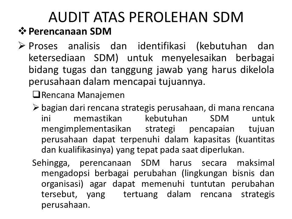 AUDIT ATAS PEROLEHAN SDM  Perencanaan SDM  Proses analisis dan identifikasi (kebutuhan dan ketersediaan SDM) untuk menyelesaikan berbagai bidang tugas dan tanggung jawab yang harus dikelola perusahaan dalam mencapai tujuannya.