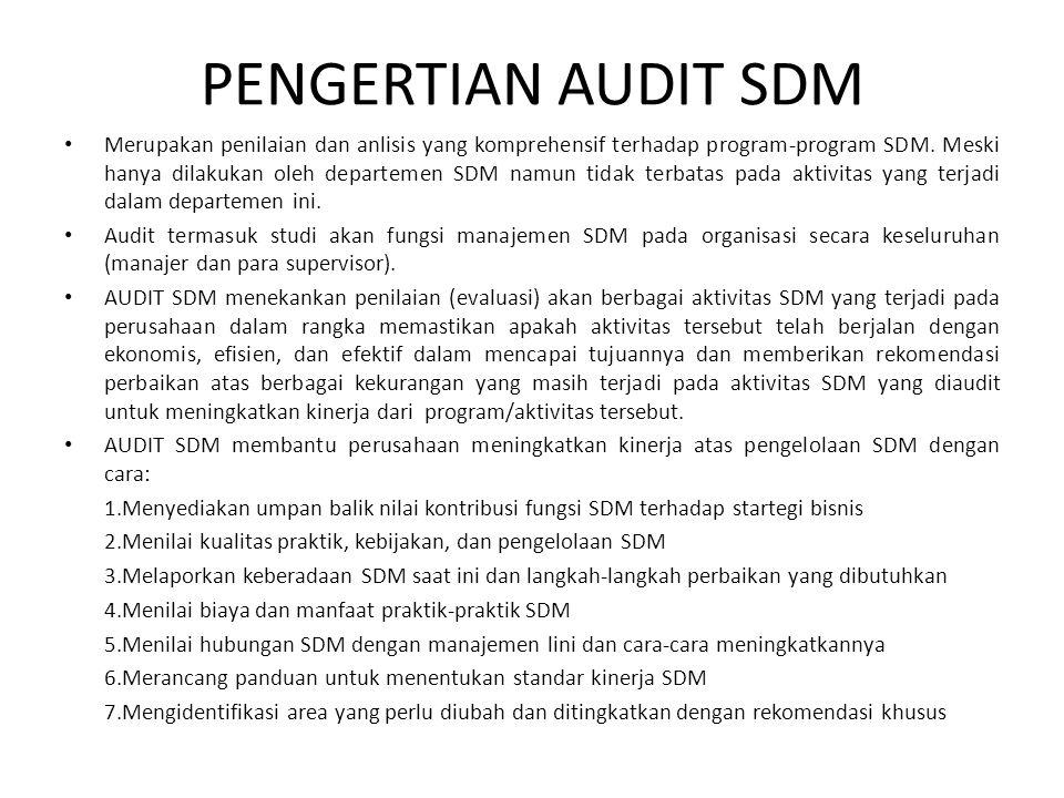 PENGERTIAN AUDIT SDM • Merupakan penilaian dan anlisis yang komprehensif terhadap program-program SDM.