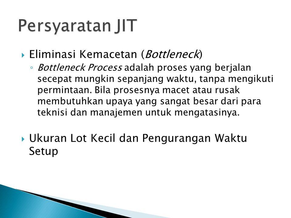 Eliminasi Kemacetan (Bottleneck) ◦ Bottleneck Process adalah proses yang berjalan secepat mungkin sepanjang waktu, tanpa mengikuti permintaan.
