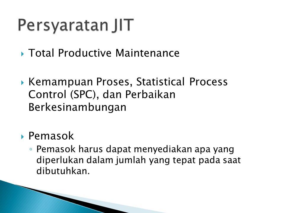  Total Productive Maintenance  Kemampuan Proses, Statistical Process Control (SPC), dan Perbaikan Berkesinambungan  Pemasok ◦ Pemasok harus dapat menyediakan apa yang diperlukan dalam jumlah yang tepat pada saat dibutuhkan.