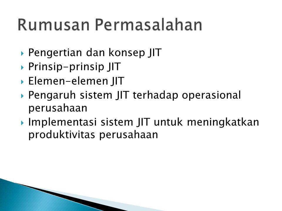  Pengertian dan konsep JIT  Prinsip-prinsip JIT  Elemen-elemen JIT  Pengaruh sistem JIT terhadap operasional perusahaan  Implementasi sistem JIT untuk meningkatkan produktivitas perusahaan