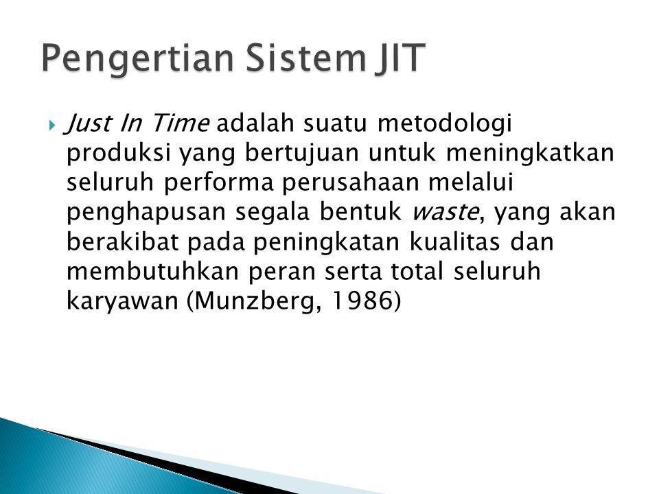  Just In Time adalah suatu metodologi produksi yang bertujuan untuk meningkatkan seluruh performa perusahaan melalui penghapusan segala bentuk waste, yang akan berakibat pada peningkatan kualitas dan membutuhkan peran serta total seluruh karyawan (Munzberg, 1986)