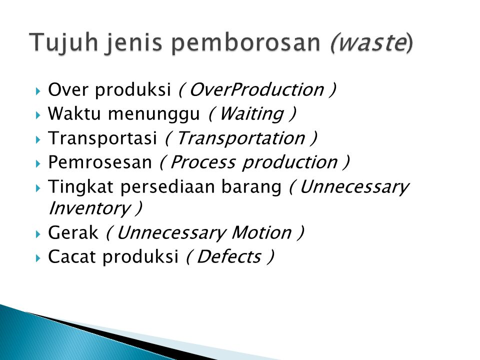  Over produksi ( OverProduction )  Waktu menunggu ( Waiting )  Transportasi ( Transportation )  Pemrosesan ( Process production )  Tingkat persed