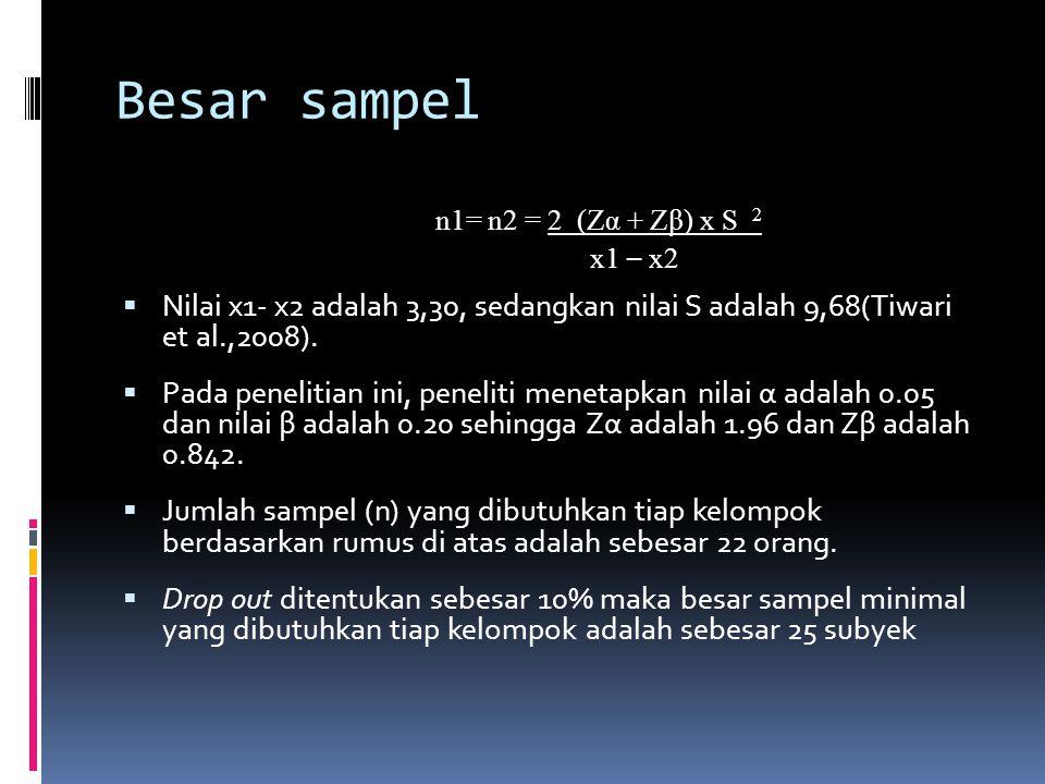 Besar sampel n1= n2 = 2 (Zα + Zβ) x S 2 x1 – x2  Nilai x1- x2 adalah 3,30, sedangkan nilai S adalah 9,68(Tiwari et al.,2008).