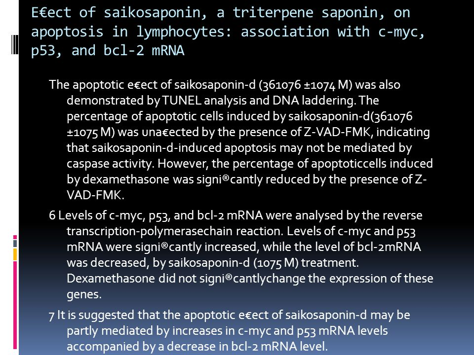 E€ect of saikosaponin, a triterpene saponin, on apoptosis in lymphocytes: association with c-myc, p53, and bcl-2 mRNA The apoptotic e€ect of saikosaponin-d (361076 ±1074 M) was also demonstrated by TUNEL analysis and DNA laddering.