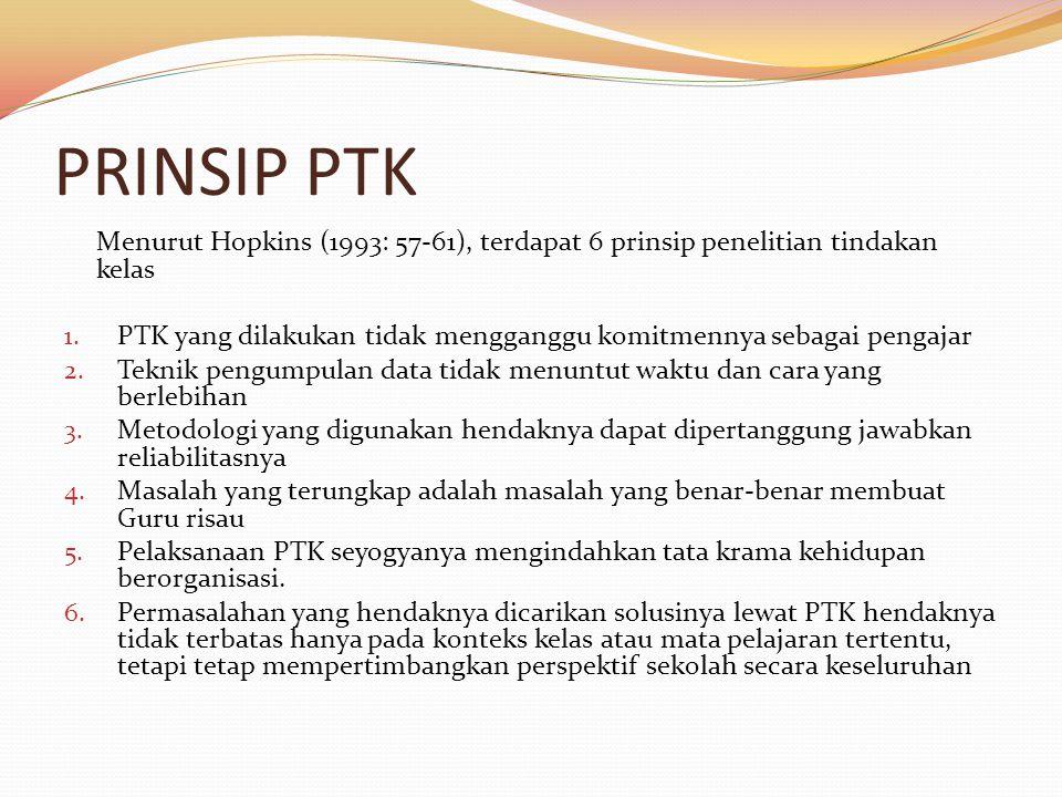 PRINSIP PTK Menurut Hopkins (1993: 57-61), terdapat 6 prinsip penelitian tindakan kelas 1.