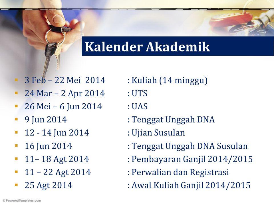 Kalender Akademik  3 Feb – 22 Mei 2014: Kuliah (14 minggu)  24 Mar – 2 Apr 2014: UTS  26 Mei – 6 Jun 2014 : UAS  9 Jun 2014 : Tenggat Unggah DNA 