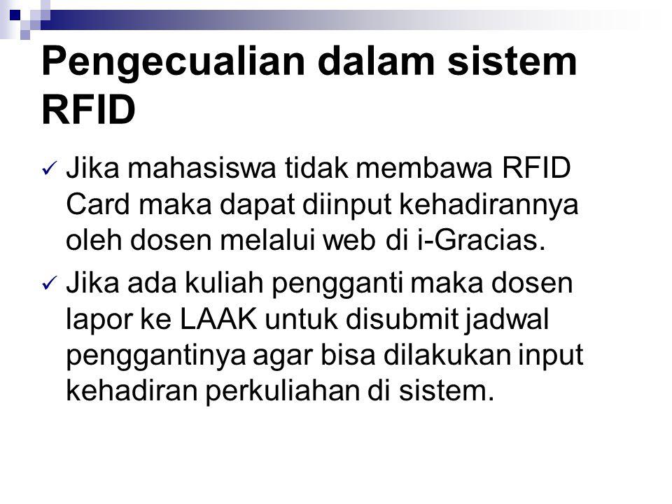 Pengecualian dalam sistem RFID  Jika mahasiswa tidak membawa RFID Card maka dapat diinput kehadirannya oleh dosen melalui web di i-Gracias.  Jika ad
