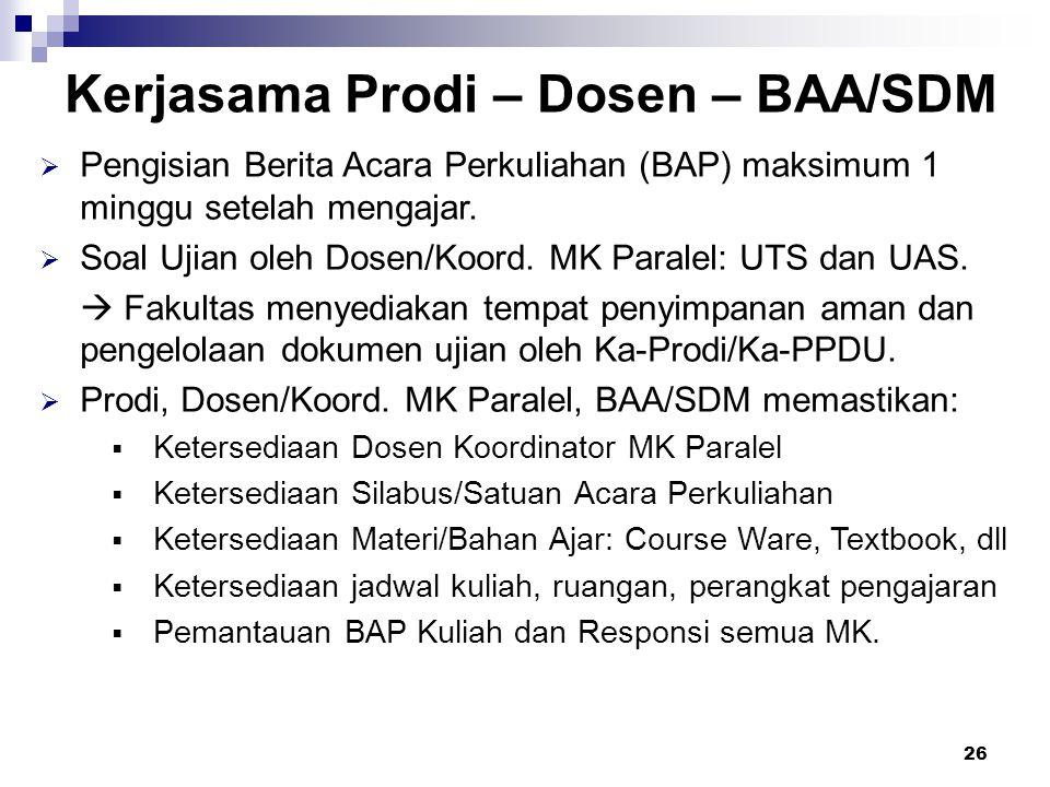 26 Kerjasama Prodi – Dosen – BAA/SDM  Pengisian Berita Acara Perkuliahan (BAP) maksimum 1 minggu setelah mengajar.  Soal Ujian oleh Dosen/Koord. MK