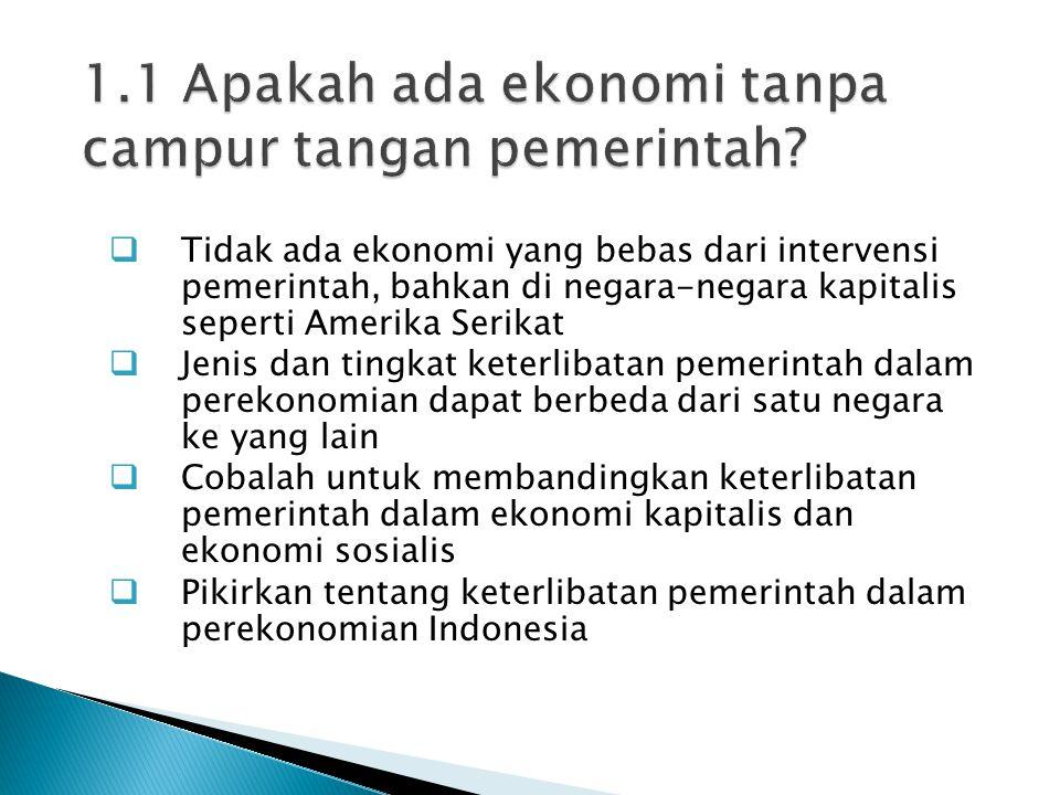  Tidak ada ekonomi yang bebas dari intervensi pemerintah, bahkan di negara-negara kapitalis seperti Amerika Serikat  Jenis dan tingkat keterlibatan pemerintah dalam perekonomian dapat berbeda dari satu negara ke yang lain  Cobalah untuk membandingkan keterlibatan pemerintah dalam ekonomi kapitalis dan ekonomi sosialis  Pikirkan tentang keterlibatan pemerintah dalam perekonomian Indonesia