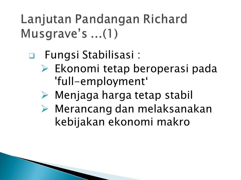  Fungsi Stabilisasi :  Ekonomi tetap beroperasi pada full-employment'  Menjaga harga tetap stabil  Merancang dan melaksanakan kebijakan ekonomi makro