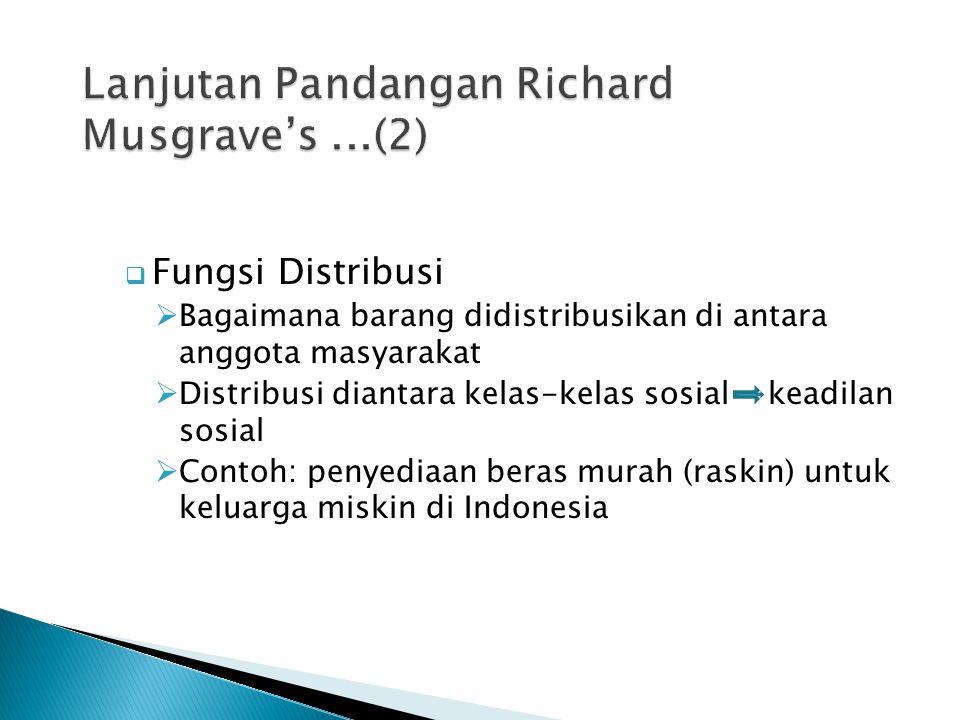  Fungsi Distribusi  Bagaimana barang didistribusikan di antara anggota masyarakat  Distribusi diantara kelas-kelas sosial keadilan sosial  Contoh: penyediaan beras murah (raskin) untuk keluarga miskin di Indonesia