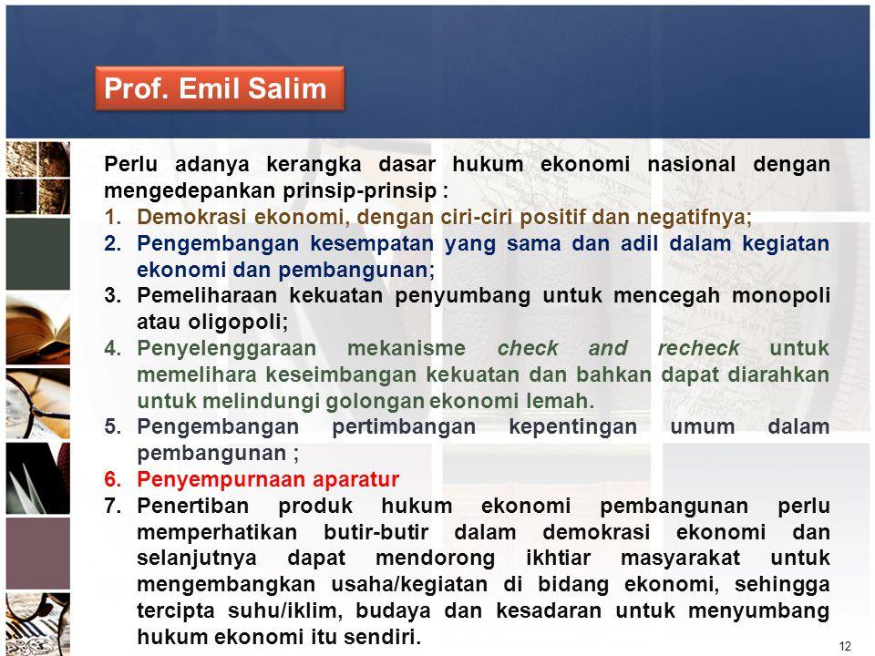12 Perlu adanya kerangka dasar hukum ekonomi nasional dengan mengedepankan prinsip-prinsip : 1.Demokrasi ekonomi, dengan ciri-ciri positif dan negatif