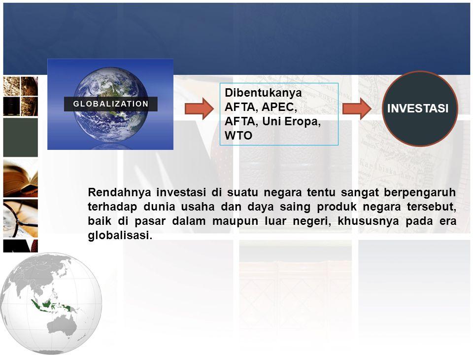 Dibentukanya AFTA, APEC, AFTA, Uni Eropa, WTO Rendahnya investasi di suatu negara tentu sangat berpengaruh terhadap dunia usaha dan daya saing produk