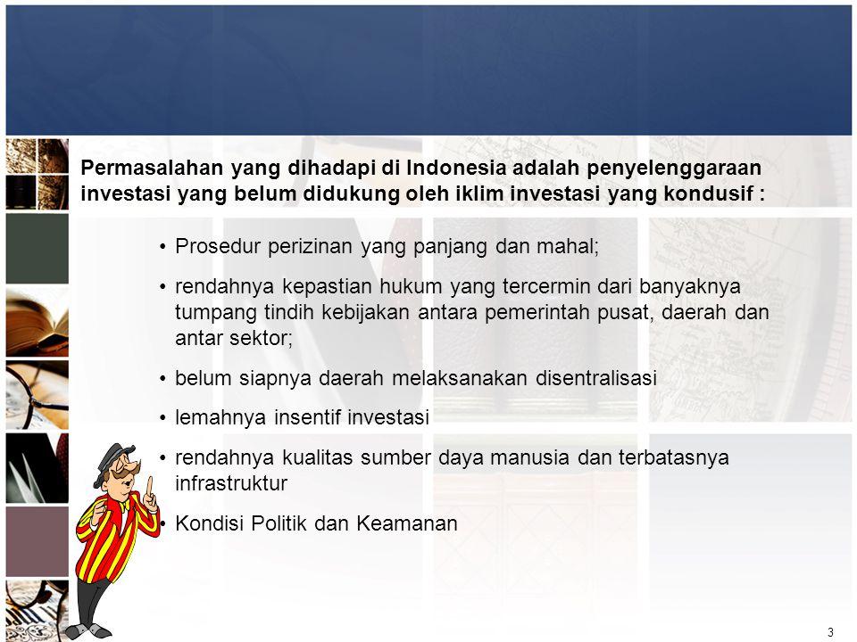 3 Permasalahan yang dihadapi di Indonesia adalah penyelenggaraan investasi yang belum didukung oleh iklim investasi yang kondusif : •Prosedur perizina