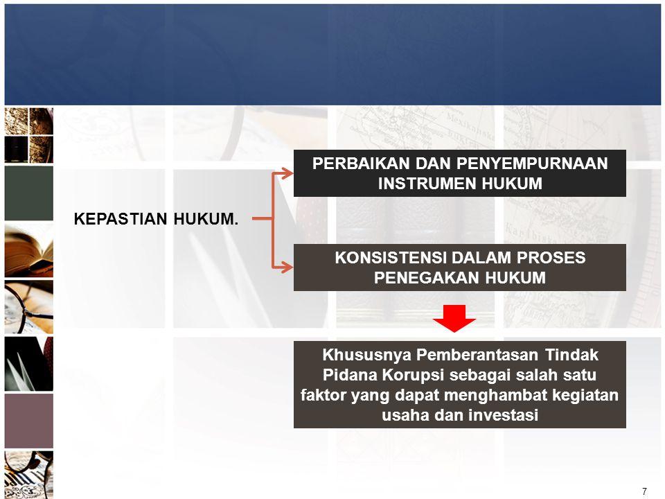 7 KEPASTIAN HUKUM. PERBAIKAN DAN PENYEMPURNAAN INSTRUMEN HUKUM KONSISTENSI DALAM PROSES PENEGAKAN HUKUM Khususnya Pemberantasan Tindak Pidana Korupsi