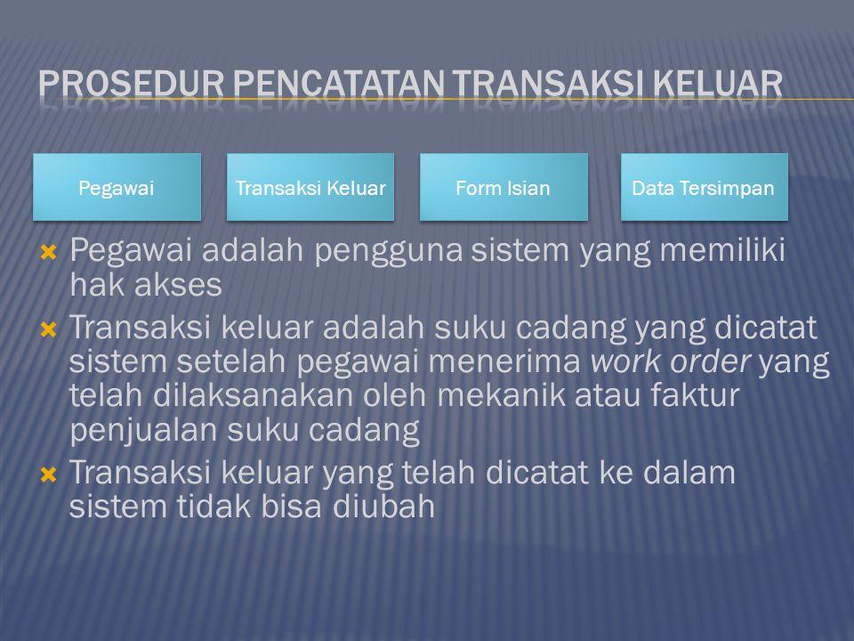  Pegawai adalah pengguna sistem yang memiliki hak akses  Transaksi keluar adalah suku cadang yang dicatat sistem setelah pegawai menerima work order