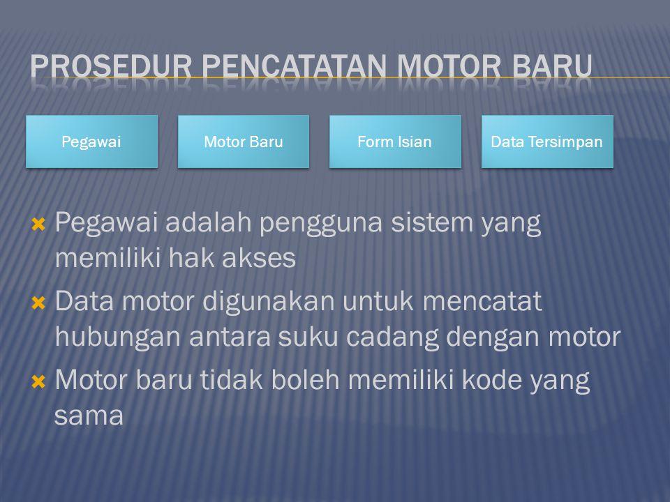  Pegawai adalah pengguna sistem yang memiliki hak akses  Data motor digunakan untuk mencatat hubungan antara suku cadang dengan motor  Motor baru t
