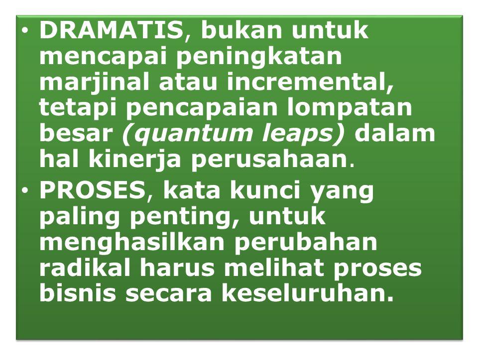 • DRAMATIS, bukan untuk mencapai peningkatan marjinal atau incremental, tetapi pencapaian lompatan besar (quantum leaps) dalam hal kinerja perusahaan.