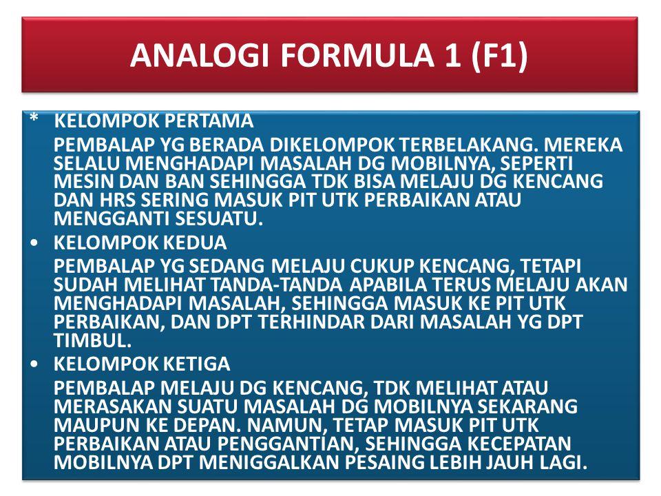 ANALOGI FORMULA 1 (F1) * KELOMPOK PERTAMA PEMBALAP YG BERADA DIKELOMPOK TERBELAKANG. MEREKA SELALU MENGHADAPI MASALAH DG MOBILNYA, SEPERTI MESIN DAN B