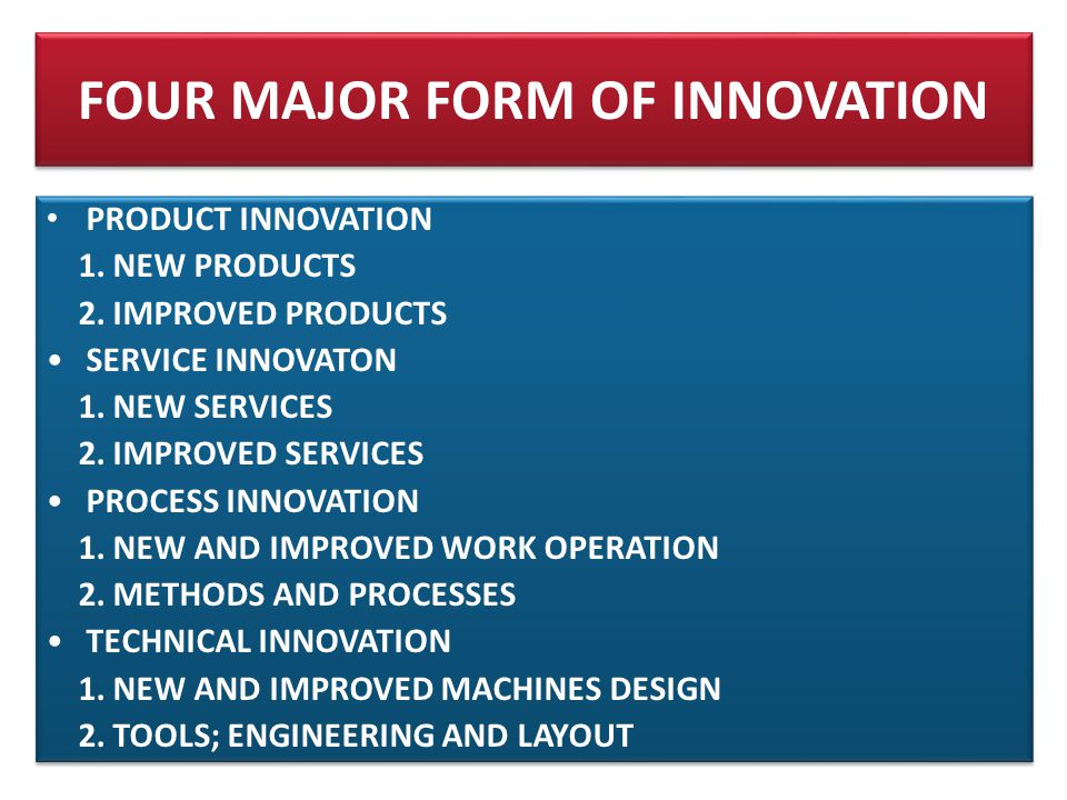 FOUR MAJOR FORM OF INNOVATION • PRODUCT INNOVATION 1.