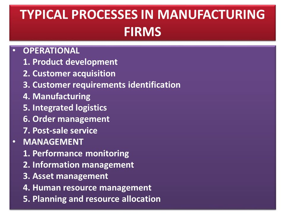TYPICAL PROCESSES IN MANUFACTURING FIRMS • OPERATIONAL 1.