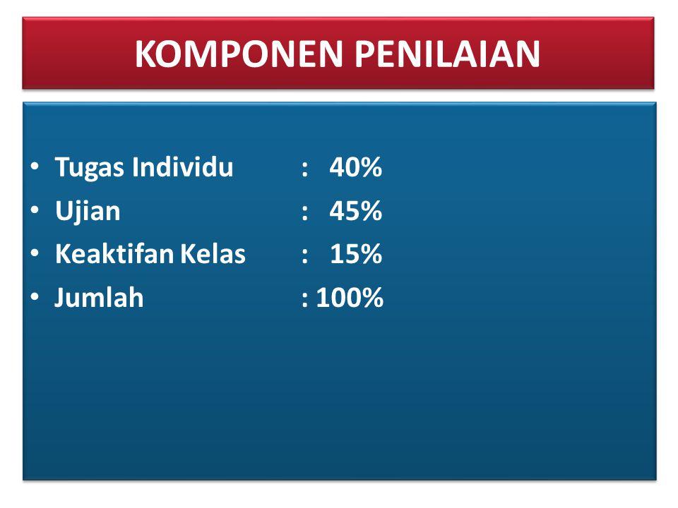 KOMPONEN PENILAIAN • Tugas Individu: 40% • Ujian: 45% • Keaktifan Kelas: 15% • Jumlah: 100% • Tugas Individu: 40% • Ujian: 45% • Keaktifan Kelas: 15%