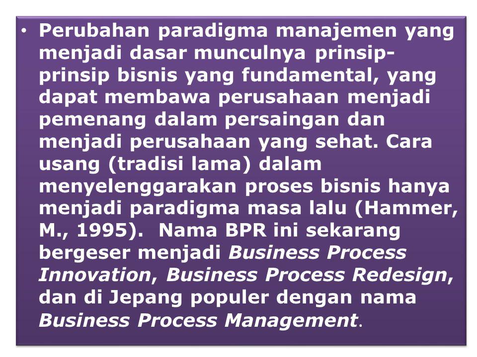 • Perubahan paradigma manajemen yang menjadi dasar munculnya prinsip- prinsip bisnis yang fundamental, yang dapat membawa perusahaan menjadi pemenang