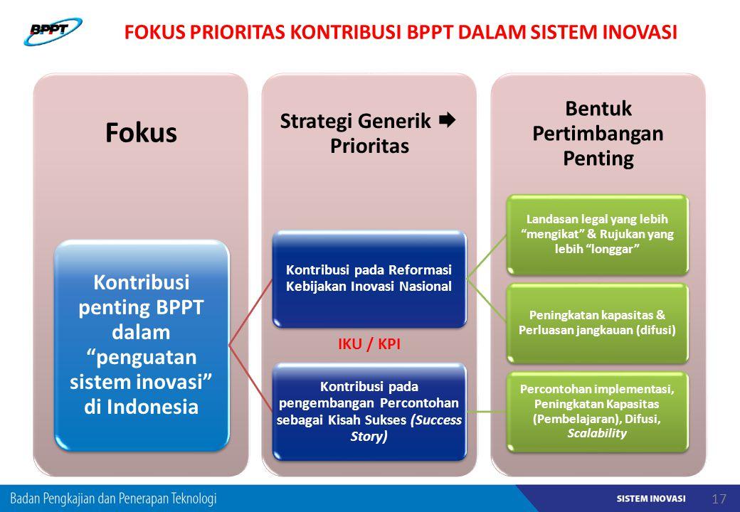 FOKUS PRIORITAS KONTRIBUSI BPPT DALAM SISTEM INOVASI IKU / KPI 17