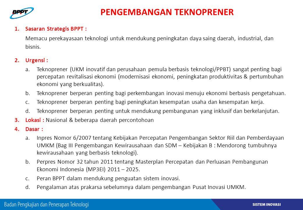 PENGEMBANGAN TEKNOPRENER 1.Sasaran Strategis BPPT : Memacu perekayasaan teknologi untuk mendukung peningkatan daya saing daerah, industrial, dan bisni