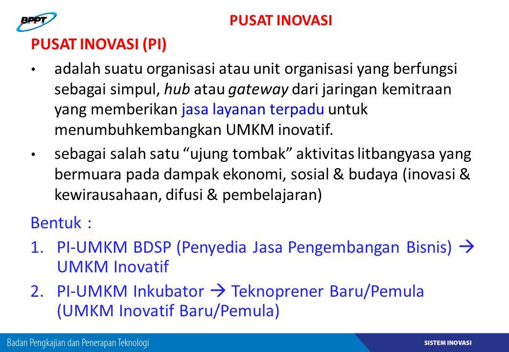 PUSAT INOVASI Bentuk : 1.PI-UMKM BDSP (Penyedia Jasa Pengembangan Bisnis)  UMKM Inovatif 2.PI-UMKM Inkubator  Teknoprener Baru/Pemula (UMKM Inovatif