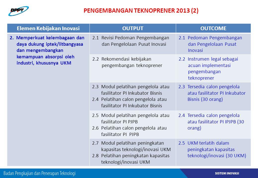 PENGEMBANGAN TEKNOPRENER 2013 (2) Elemen Kebijakan InovasiOUTPUTOUTCOME 2. Memperkuat kelembagaan dan daya dukung iptek/litbangyasa dan mengembangkan