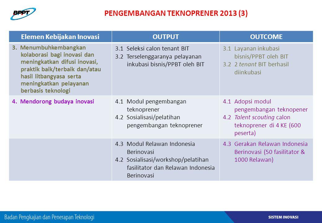 PENGEMBANGAN TEKNOPRENER 2013 (3) Elemen Kebijakan InovasiOUTPUTOUTCOME 3. Menumbuhkembangkan kolaborasi bagi inovasi dan meningkatkan difusi inovasi,