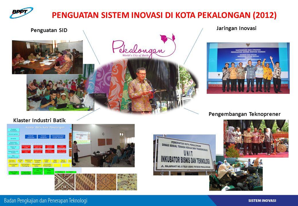PENGUATAN SISTEM INOVASI DI KOTA PEKALONGAN (2012) Penguatan SID Jaringan Inovasi Klaster Industri Batik Pengembangan Teknoprener