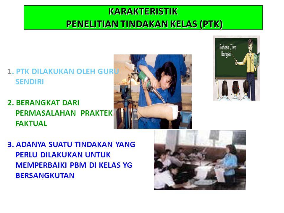 KARAKTERISTIK PENELITIAN TINDAKAN KELAS (PTK) 1. PTK DILAKUKAN OLEH GURU SENDIRI 2.