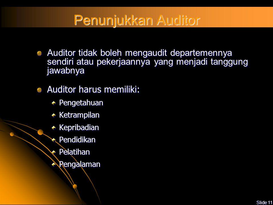 Slide 10 Auditee Koordinasi dengan Tim Audit tentang jadual audit internal Menjamin kehadiran personel yang relevan Menyediakan fasilitas yang diperlu