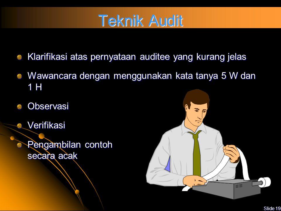 Slide 18 Pelaksanaan Audit Menggunakan checklist yang telah dipersiapkan Melakukan audit berdasarkan pada jadwal yang telah ditentukan Menggunakan Tek