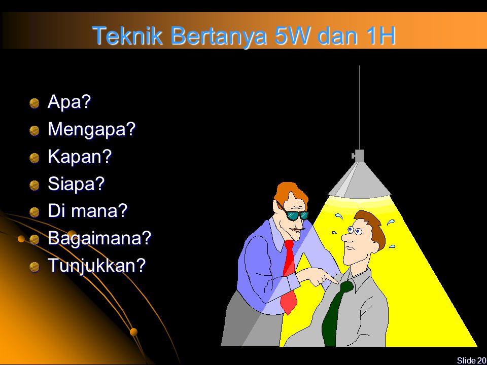 Slide 19 Teknik Audit Klarifikasi atas pernyataan auditee yang kurang jelas Wawancara dengan menggunakan kata tanya 5 W dan 1 H ObservasiVerifikasi Pe