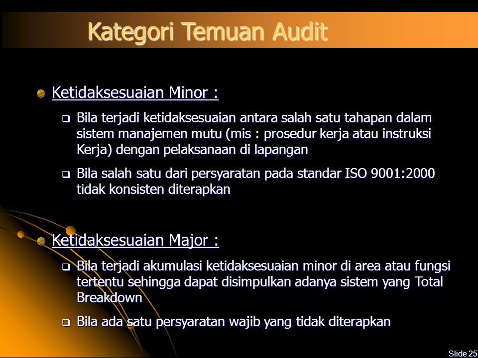 Slide 24 Pelaporan Audit Laporan audit meliputi: Ruang lingkup dan sasaran audit Jadwal audit Anggota tim audit Auditee Identifikasi dokumen rujukan t