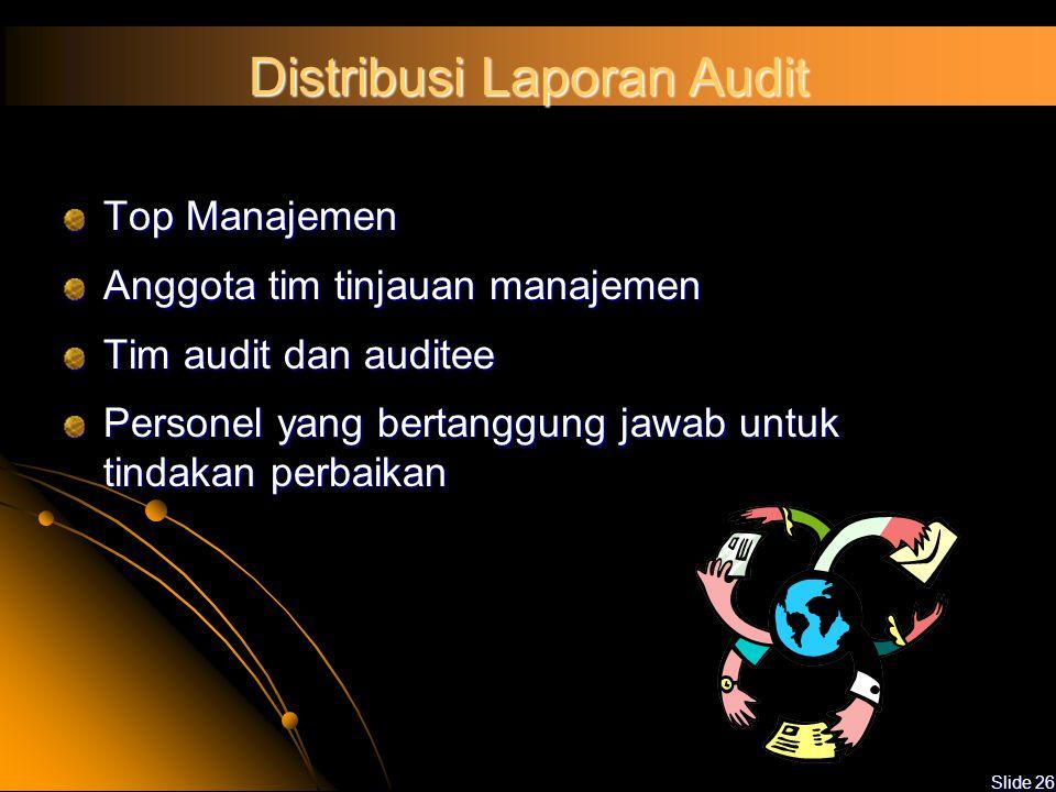Slide 25 Kategori Temuan Audit Ketidaksesuaian Minor :  Bila terjadi ketidaksesuaian antara salah satu tahapan dalam sistem manajemen mutu (mis : pro
