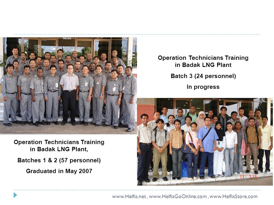 Operation Technicians Training in Badak LNG Plant, Batches 1 & 2 (57 personnel) Graduated in May 2007 Operation Technicians Training in Badak LNG Plant Batch 3 (24 personnel) In progress www.Helfia.net, www.HelfiaGoOnline.com, www.HelfiaStore.com