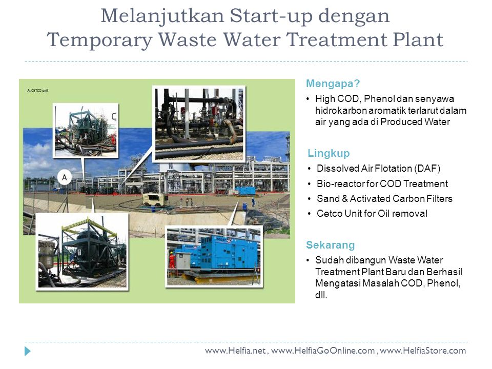 Melanjutkan Start-up dengan Temporary Waste Water Treatment Plant Mengapa.
