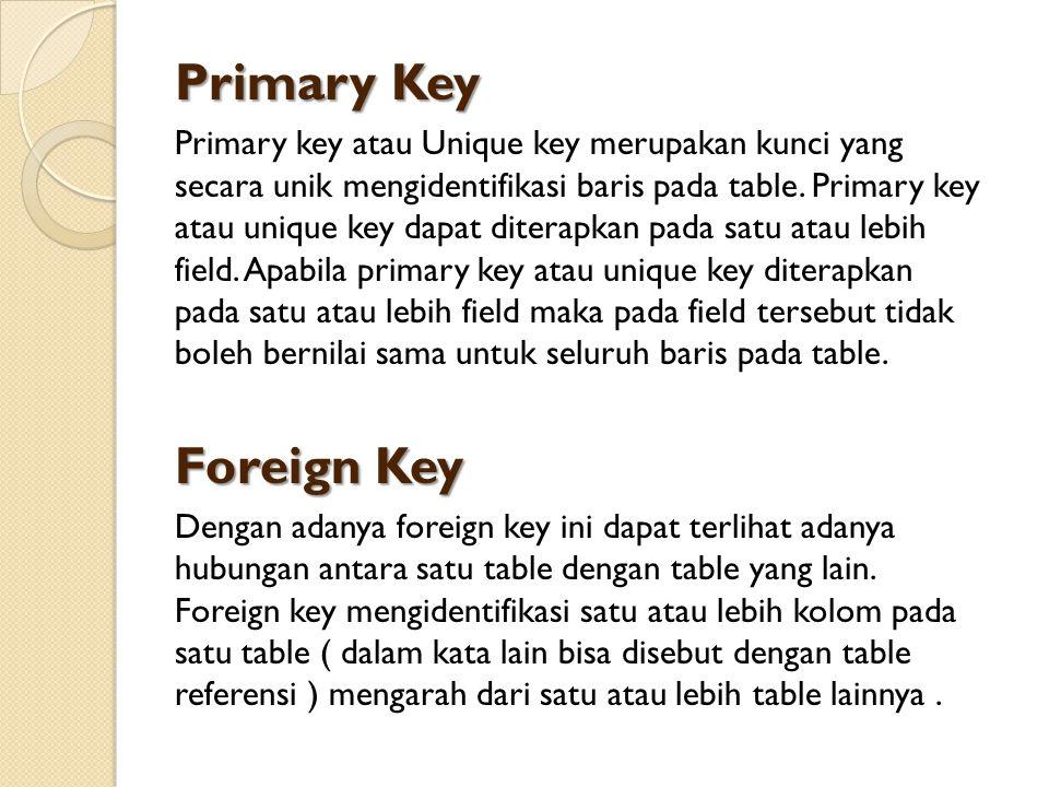 Primary Key Primary key atau Unique key merupakan kunci yang secara unik mengidentifikasi baris pada table. Primary key atau unique key dapat diterapk